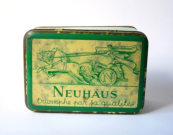 vintage tin box, Belgian tin box
