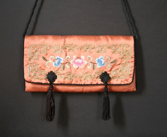 Silk purse, Chinese silk shoulder bag, Embroidered purse