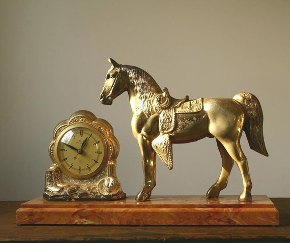 Carnival prize horse and clock, gold carnival prize horse