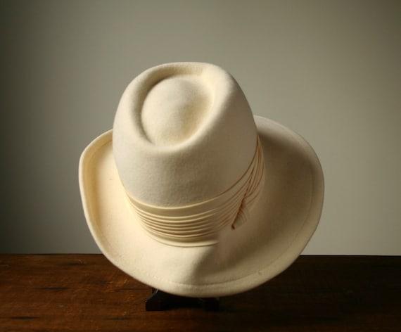 Vintage fedora, women's white fedora