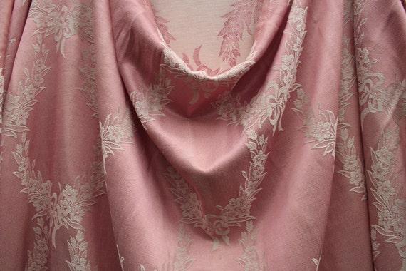 vintage damask pink bedspread, pink damask  fabric