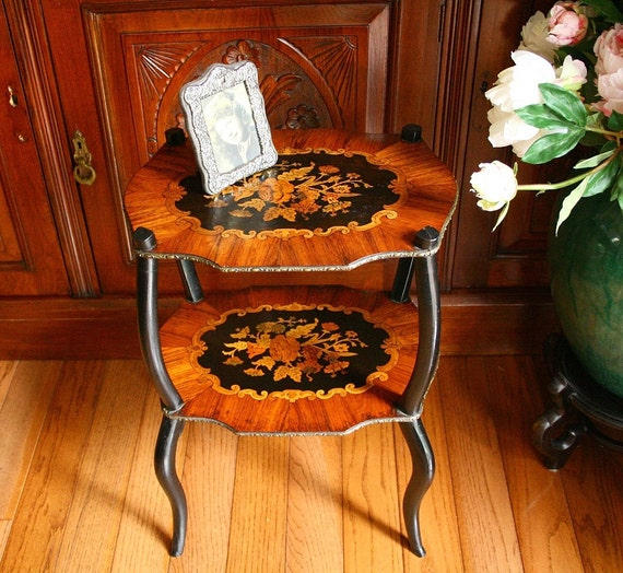 marquetry, inlaid wood, antique table