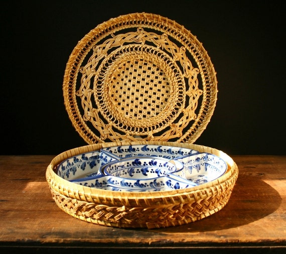 Picnic Basket Dish Set : Chip and dip olive dishes picnic basket reserved by