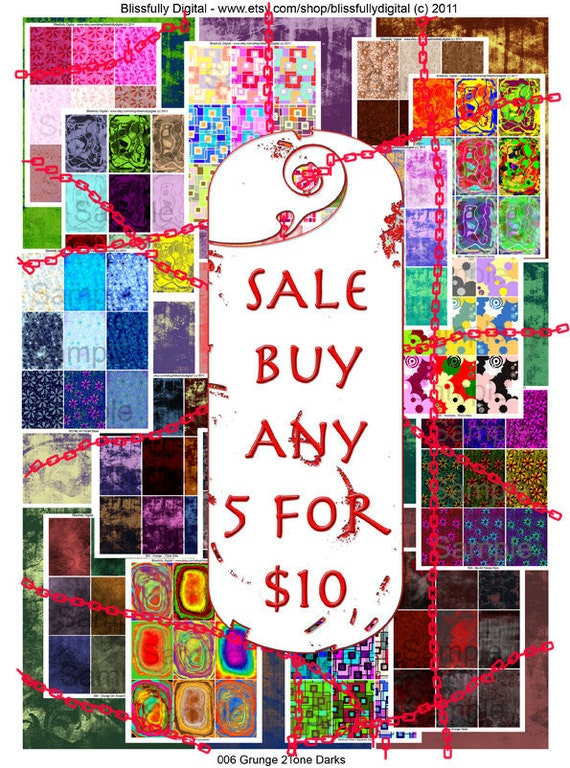 5 for 10 Sale Printable ATC sized Digital Collage Download Sheet