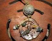 Vintage Carved Jade Necklace with Lion charm