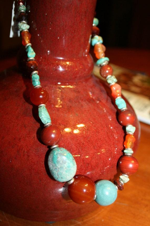 "18"" single strand Turquoise, Carnelian, Red Jasper Necklace.   SALE"