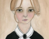 Victorian Portait, Lady Maid Illustration, Watercolor Portrait (6x8) 19th Century Art Print, Miss Charlotte