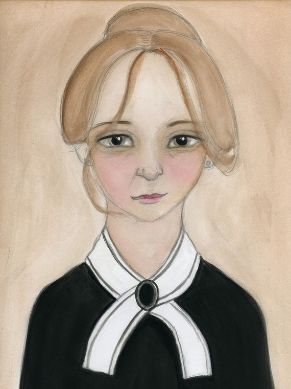 Miss Charlotte - Victorian Lady Maid Illustration Watercolor Portrait (6x8) Downton Abbey Inspired Art Print