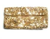 Vintage La Regale Gold Sequined Clutch/ Japan