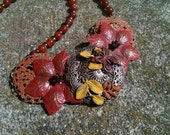 "Metal Collage / Assemblage Necklace - ""Pumpkin Patch"""
