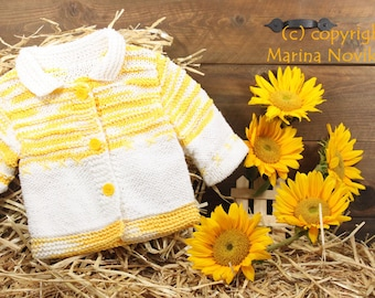 """Hand-Knitted Cotton Sweater """"Yellow-White Marshmallow"""" for Girls 12-18 months."""