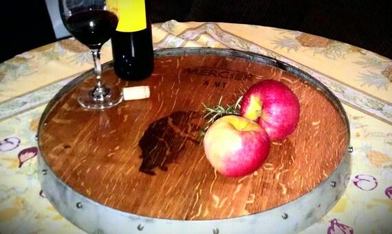 Lazy susan wine barrel top