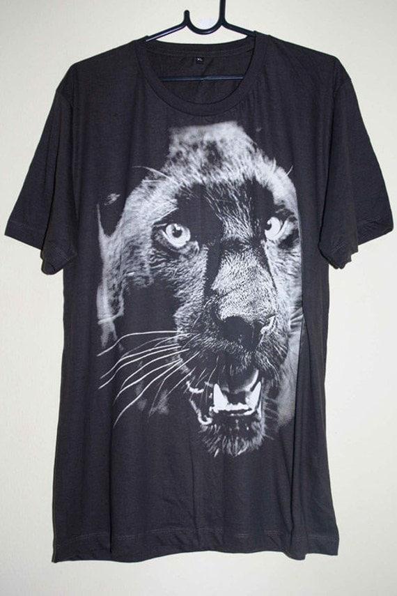 Black Panther Animal Graphic Design Hand Printed T-Shirt L