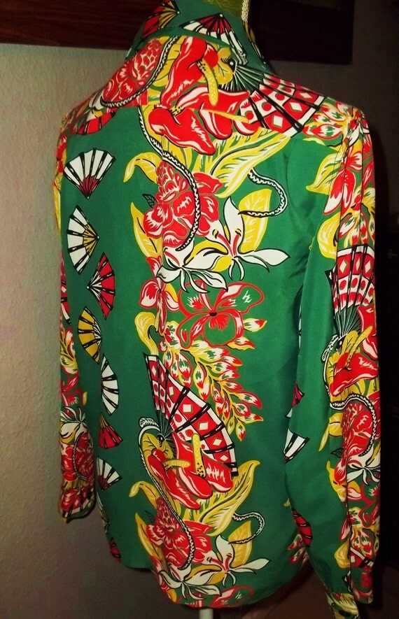 Do not purchase - Reserved for Jesse H. - 1940s Green Rayon Long Sleeve Hawaiian Shirt