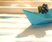 Blue paper boat, nursery decor, still life phtograph, origami paper boat, 5x5 - titled: I Carry Treasures
