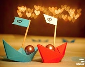 Original engagement gift, wedding gift, still life photo, origami paper boats, red, blue, bokeh, 8x6