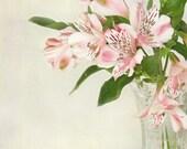 Bouquet photograph, fresh flowers, bouquet in vase, alstroemeria, pink, pastel colours, fine art,10x8, Giclée, titled: Alstroemeria I
