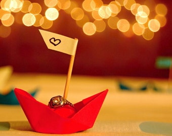 Will you marry me, Red boat photo, Red Paper boat with Engagement ring, Love art, Red Origami boat, Surreal art, Engagement gift, Wall art