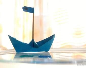 Blue Origami Boat, Nursery Wall art, Blue Boat photo, Art for kids room, Blue Paper Boat, Blue Nursery décor, Baby boy gift, Surreal art