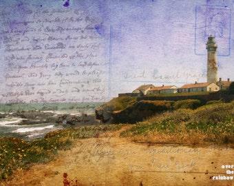 Lighthouse photo, Vintage postcard, Landscape art, Spring landscape, Moody seashore print, Rustic home décor, Lighthouse fine art,Purple sky