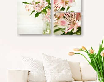 Pink Alstroemeria, Nature photography, Bouquet of flowers, Flower print, Dining room wall art, Romantic home décor, Engagement gift,