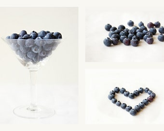 Blueberries, Food photography, Set of 3 prints, Blue and White, Blue Kitchen art, Fruit print, Minimalist art, Dining room wall art