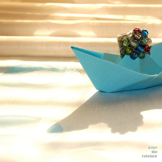 Blue Origami Boat, Nursery Wall art, Boat photography, Art for kids room, Blue Paper Boat, Blue Nursery décor, Baby boy gift,Pirate Treasure