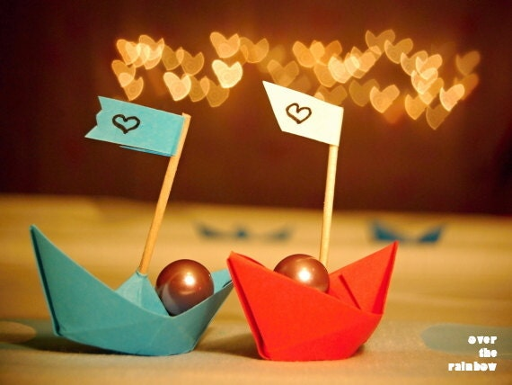 Paper boat photo, Engagement gift, Origami boat print, Red and Blue Boat, Wedding gift, Love art, Surreal art, Heart bokeh photo