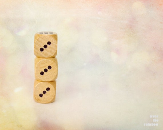 Dice photography, Nursery Wall art, Three dice, Art for kids room, Board Game, Baby shower gift,   Game Room wall art, Pink bokeh
