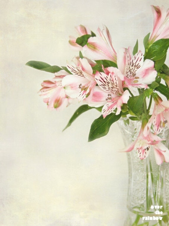 Pink Alstroemeria, Nature photography, Bouquet of flowers, Flower print, Dining room wall art, Romantic home décor, Engagement gift