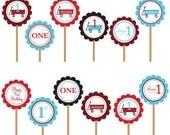 Radio Flyer Red Wagon Cupcake Topper- DIY Printable Party Circles Digital File- You Print