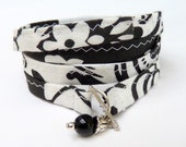 BLACK & WHITE - fabric wrapped Bracelet with a small Bead - 28.5 inches - 72.5 cm