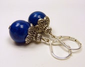 AGNES from WARSCHAU - Earrings with dark blue mountaun stone beads & tibetan silver / gemstone