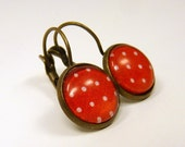 DOTS - Earrings with white dots on red ground - glass cabochons and antique brass ear wires with pads - bronze