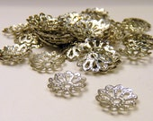 50 pcs  filigree flowered bead caps - 8 mm - silver