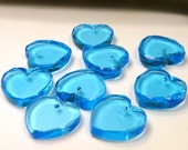 9 glass - faceted hearts - 11 x 11 mm -  turquoise / aqua -  pendants charms