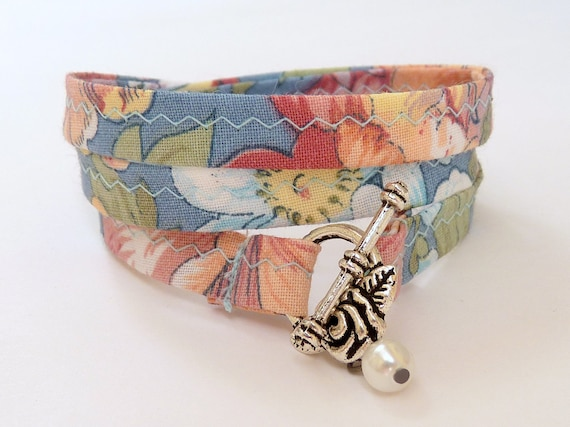 PASTELLE FLOWERS  --- fabric wrap Bracelet with a little bead  - 20.7 inches - blue, red, orange, yellow, green pastel