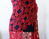 Red floral handcrochet shawl/High Fashion Women Accessories/Couture Tops