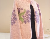 Pink Handknitted Turtleneck Cardigan Sweater With Floral Hand-Embroidery One Button Neck Closure/High Fashion Knitted Top Accessories