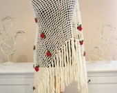 Ivory Long Shawl One Shoulder Buttonned/Long Fringed/Red Floral Ornated/High Fashion Knitted Accessories