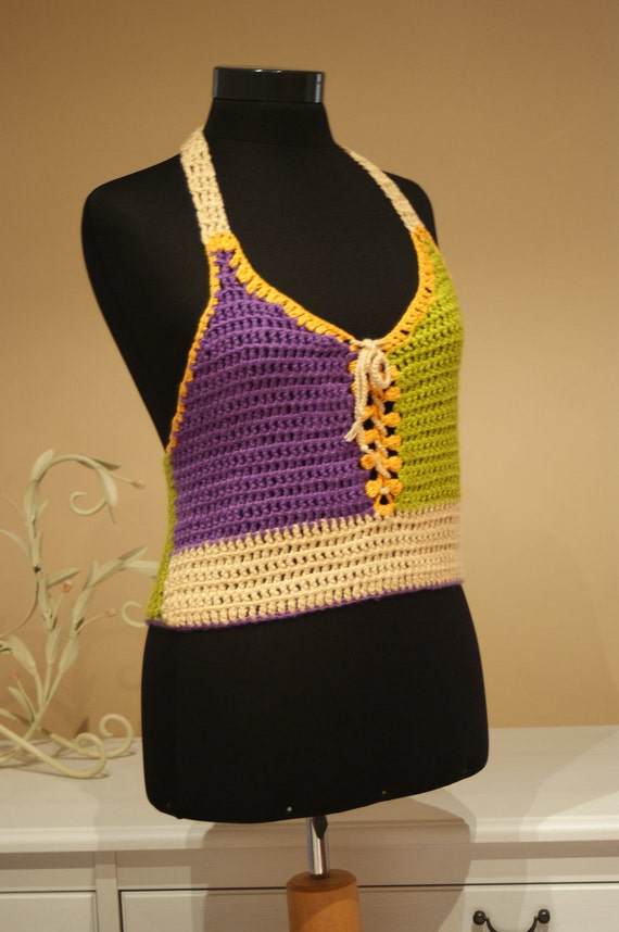 Purple Green Yellow Camel Crochet Halter Tops/High Fashion Women Girl Knitted Clothing