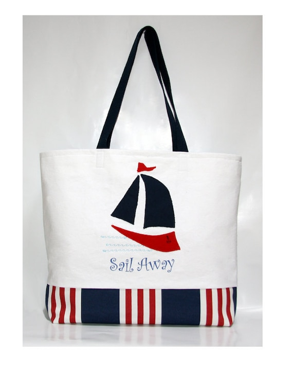 SALE Beach Tote Sail Away  Red White and Blue Summer Large Bag XL