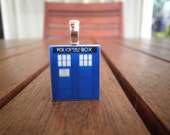 TARDIS Doctor Who Scrabble Tile Necklace (FREE Chain)