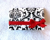 Black and White Damask with red ribbon business card holder