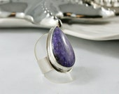 North by NorthEast - Artisan Charoite and Argentium Silver Adjustable Ring