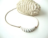 Vintage Modernist Necklace : Chrysalis vintage ivory and gold tone modernist choker necklace marked avon