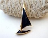 Vintage Nautical Brooch : Baltic Blues vintage enamel and gold sail boat brooch pin