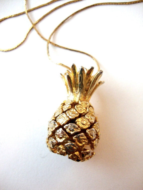 Golden Fruit vintage large pineapple pendant on a gold tone chain