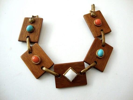 SALE everything 20% off Teak Modern vintage wooden bracelet