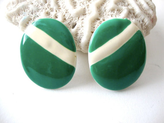 SALE 50% off Green Flag vintage green and white striped oval clip on earrings